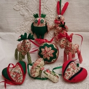 Тканевые и деревянные елочные игрушки